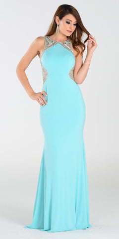 Poly USA 7192 Full Length Sexy Prom Gown Aqua Sheath