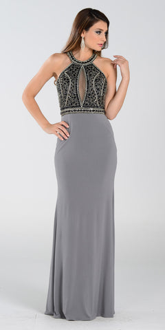 Poly USA 7194 Sexy Red Carpet Long Gown Gray Keyhole Bodice