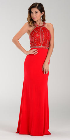 Poly USA 7194 Sexy Red Carpet Long Gown Red Keyhole Bodice