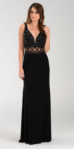 ON SPECIAL LIMITED STOCK - Poly USA 7198 Deep V Neckline Long Prom Gown Black Sheer Waist