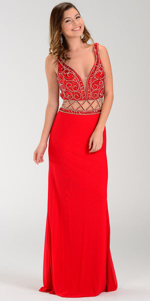 ON SPECIAL LIMITED STOCK - Poly USA 7198 Deep V Neckline Long Prom Gown Red Sheer Waist