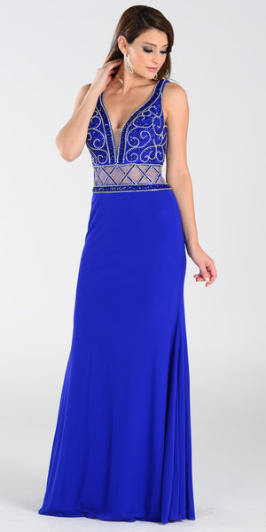 ON SPECIAL LIMITED STOCK - Poly USA 7198 Deep V Neckline Long Prom Gown Royal Blue Sheer Waist