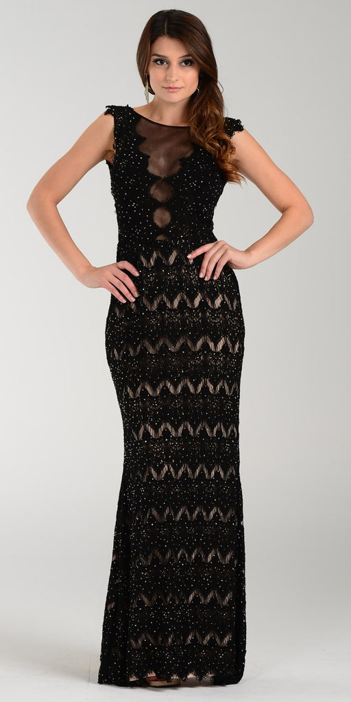 Poly USA 7306 Floor Length Lace Prom Gown Black Illusion
