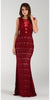 Poly USA 7306 Floor Length Lace Prom Gown Burgundy Illusion