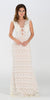 Poly USA 7306 Floor Length Lace Prom Gown Ivory Illusion