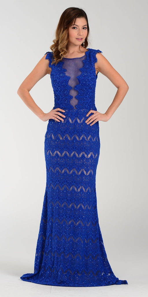 Poly USA 7306 Floor Length Lace Prom Gown Royal Blue Illusion