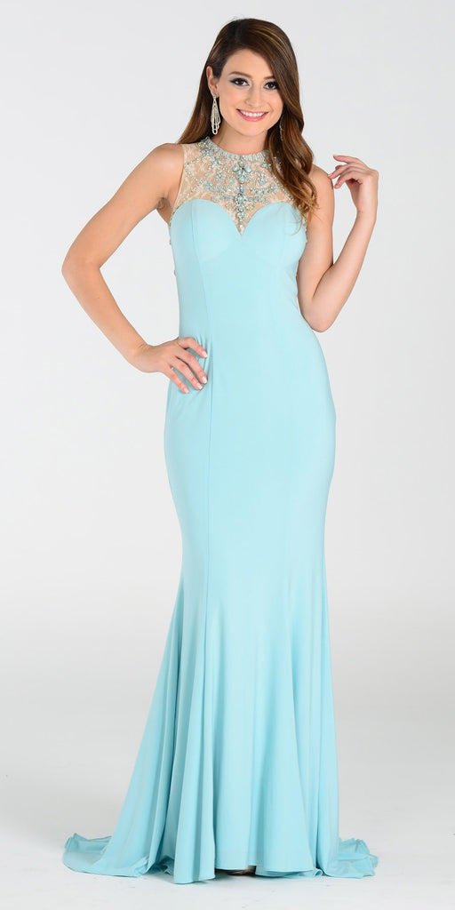 ON SPECIAL LIMITED STOCK - Poly USA 7316 ITY Stretch Long Prom Dress Aqua Lace Neckline
