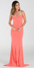 ON SPECIAL LIMITED STOCK - Poly USA 7316 ITY Stretch Long Prom Dress Coral Lace Neckline