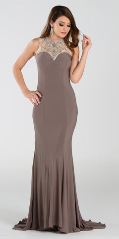 ON SPECIAL LIMITED STOCK - Poly USA 7316 ITY Stretch Long Prom Dress Mocha Lace Neckline