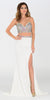 ON SPECIAL LIMITED STOCK - Poly USA 7318 Sexy Slit Long Prom Dress Off White Strapless