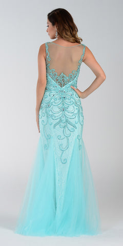 Poly USA 7322 Long Mermaid Prom Dress Aqua Sleeveless