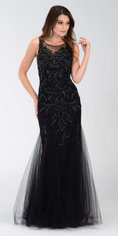 Poly USA 7322 Long Mermaid Prom Dress Black Sleeveless