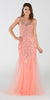 Poly USA 7322 Long Mermaid Prom Dress Coral Sleeveless