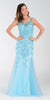 Poly USA 7322 Long Mermaid Prom Dress Sky Blue Sleeveless
