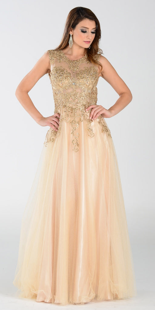 ON SPECIAL LIMITED STOCK - Poly USA 7324 Poofy A Line Prom Dress Champagne Long Lace Applique