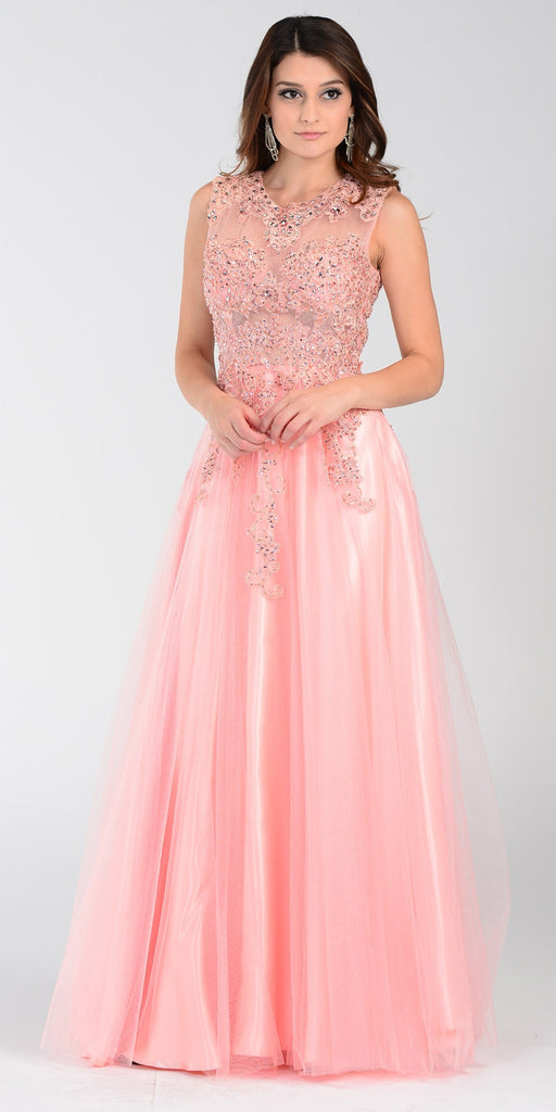 ON SPECIAL LIMITED STOCK - Poly USA 7324 Poofy A Line Prom Dress Light Coral Long Lace Applique