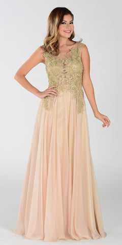 ON SPECIAL LIMITED STOCK - Poly USA 7328 Long A Line Champagne Prom Dress Chiffon Lace Appliques