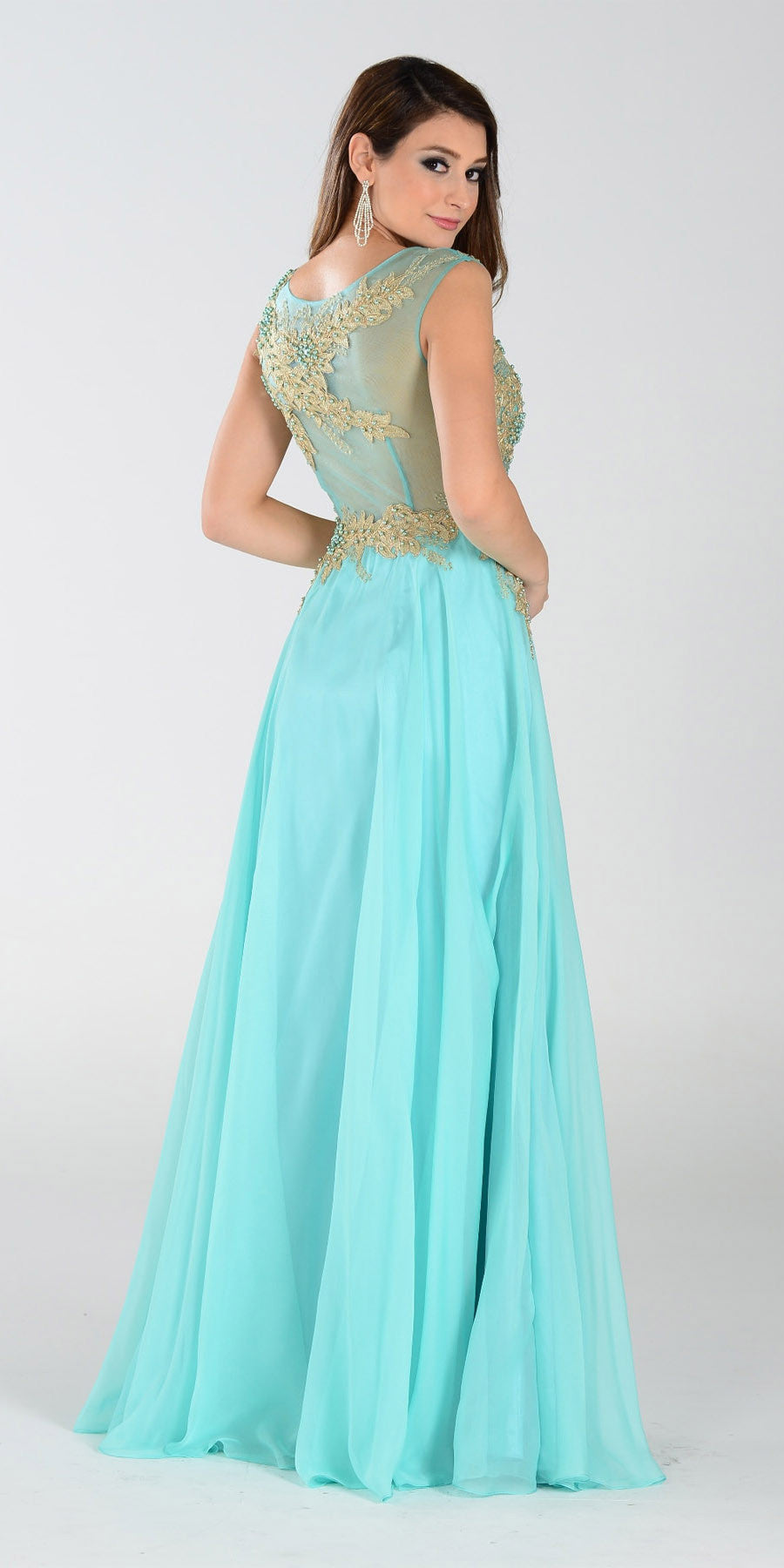 ON SPECIAL LIMITED STOCK - Poly USA 7328 Long A Line Mint/Gold Prom Dress Chiffon Lace Appliques