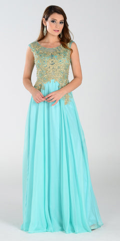 ON SPECIAL LIMITED STOCK - Poly USA 7328 Long A Line Mint Gold Prom Dress Chiffon Lace Appliques