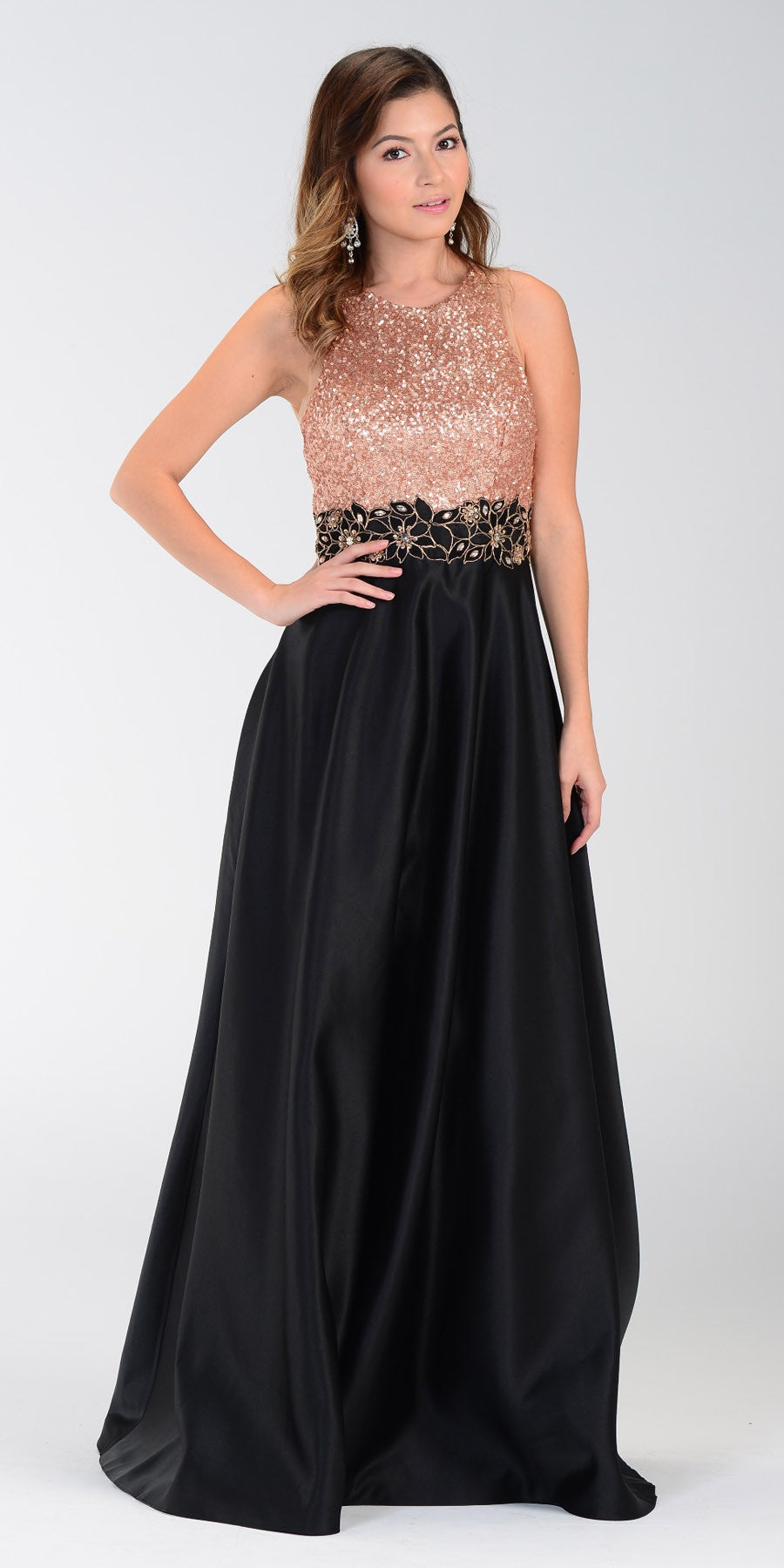 7a2e6969bf7 ON SPECIAL LIMITED STOCK - Poly USA 7330 Black Gold Sequin Top Prom Dress  Long Satin. Tap to expand