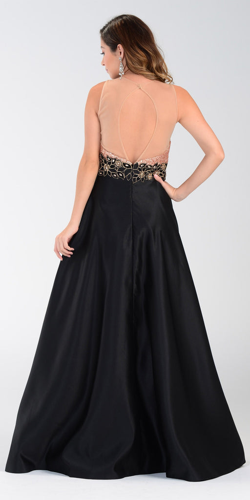 ON SPECIAL LIMITED STOCK - Poly USA 7330 Black Gold Sequin Top Prom Dress Long Satin A Line