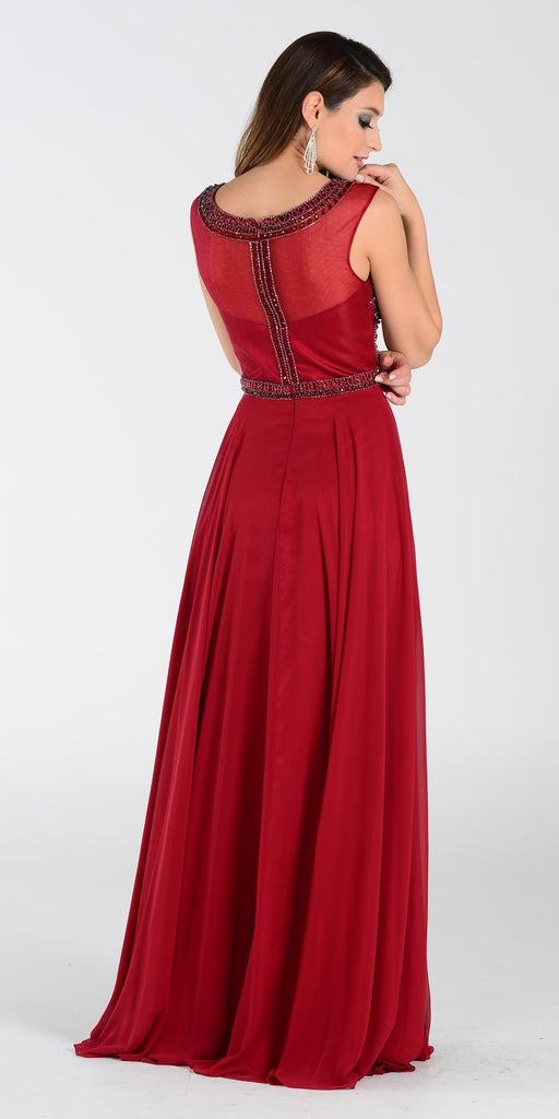 Poly USA 7332 Long A Line Formal Gown Burgundy Chiffon Bead Top