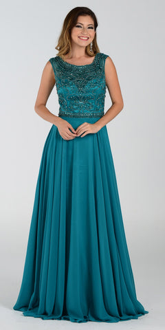 Poly USA 7332 Long A Line Formal Gown Green Chiffon Bead Top
