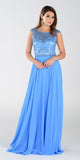 Poly USA 7332 Long A Line Formal Gown Periwinkle Chiffon Bead Top
