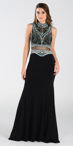 ON SPECIAL LIMITED STOCK - Poly USA 7334 Mock 2 Piece Sheath Prom Dress Black Floor Length