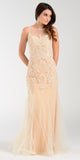 Poly USA 7338 Mermaid Silhouette Prom Dress Champagne Sheer Neck