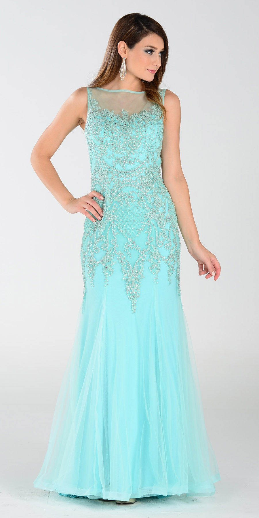 Poly USA 7338 Mermaid Silouette Prom Dress Mint Sheer Neck