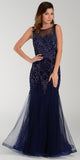 Poly USA 7338 Mermaid Silhouette Prom Dress Navy Blue Sheer Neck