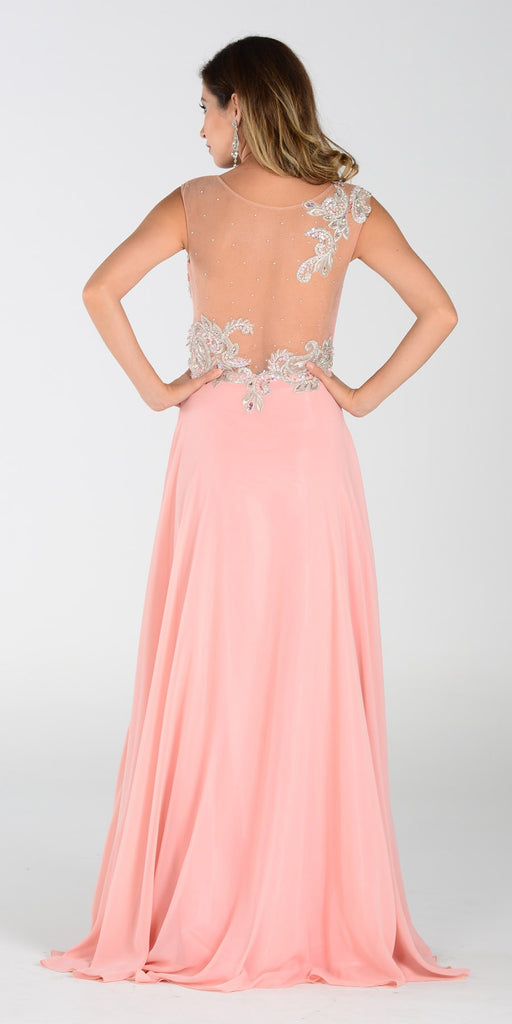 Poly USA 7342 Chiffon Prom Dress Blush Long Embroidered Top