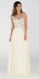 Poly USA 7342 Chiffon Prom Dress Ivory Long Embroidered Top