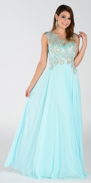 Poly USA 7342 Chiffon Prom Dress Sea Glass Long Embroidered Top