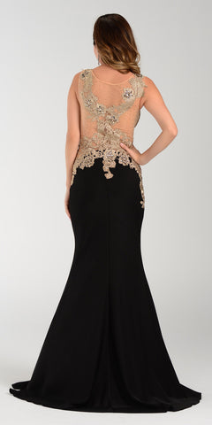 Poly USA 7344 Span Satin Long Prom Dress Black Embroidered Top