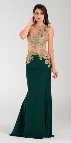 Poly USA 7344 Span Satin Long Prom Dress Emerald Green Embroidered Top