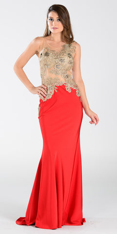 Poly USA 7344 Span Satin Long Prom Dress Red Embroidered Top