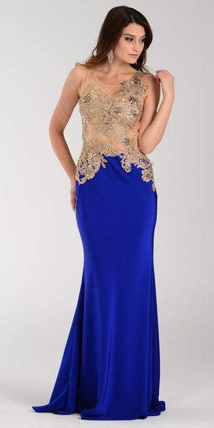 Poly USA 7344 Span Satin Long Prom Dress Royal Blue Embroidered Top