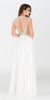 ON SPECIAL LIMITED STOCK - Poly USA 7350 Long White Chiffon Prom Dress Sheer Bodice