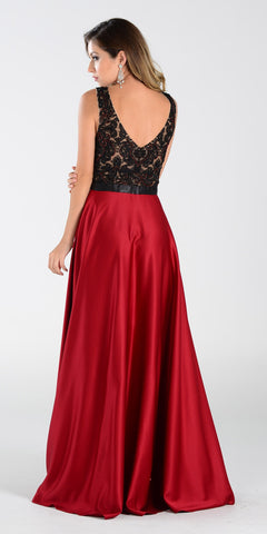 Poly USA 7352 Long Formal Gown Burgundy Satin Deep V Neck