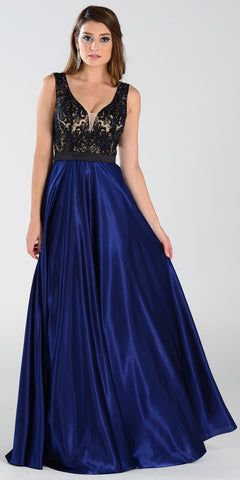 Poly USA 7352 Long Formal Gown Navy Blue Satin Deep V Neck