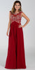 Poly USA 7354 Empire Waist Long Chiffon Burgundy Gown Cap Sleeve