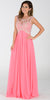 Poly USA 7354 Empire Waist Long Chiffon Coral Gown Cap Sleeve