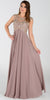 Poly USA 7354 Empire Waist Long Chiffon Mocha Gown Cap Sleeve