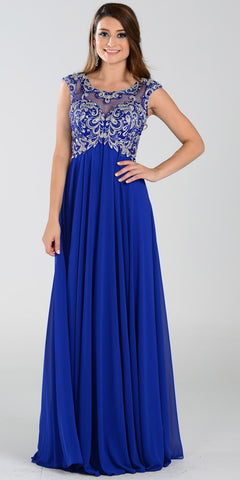 Poly USA 7354 Empire Waist Long Chiffon Royal Blue Gown Cap Sleeve