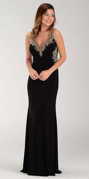 ON SPECIAL LIMITED STOCK - Poly USA 7356 Special Occasion Black Gown Sheath Floor Length
