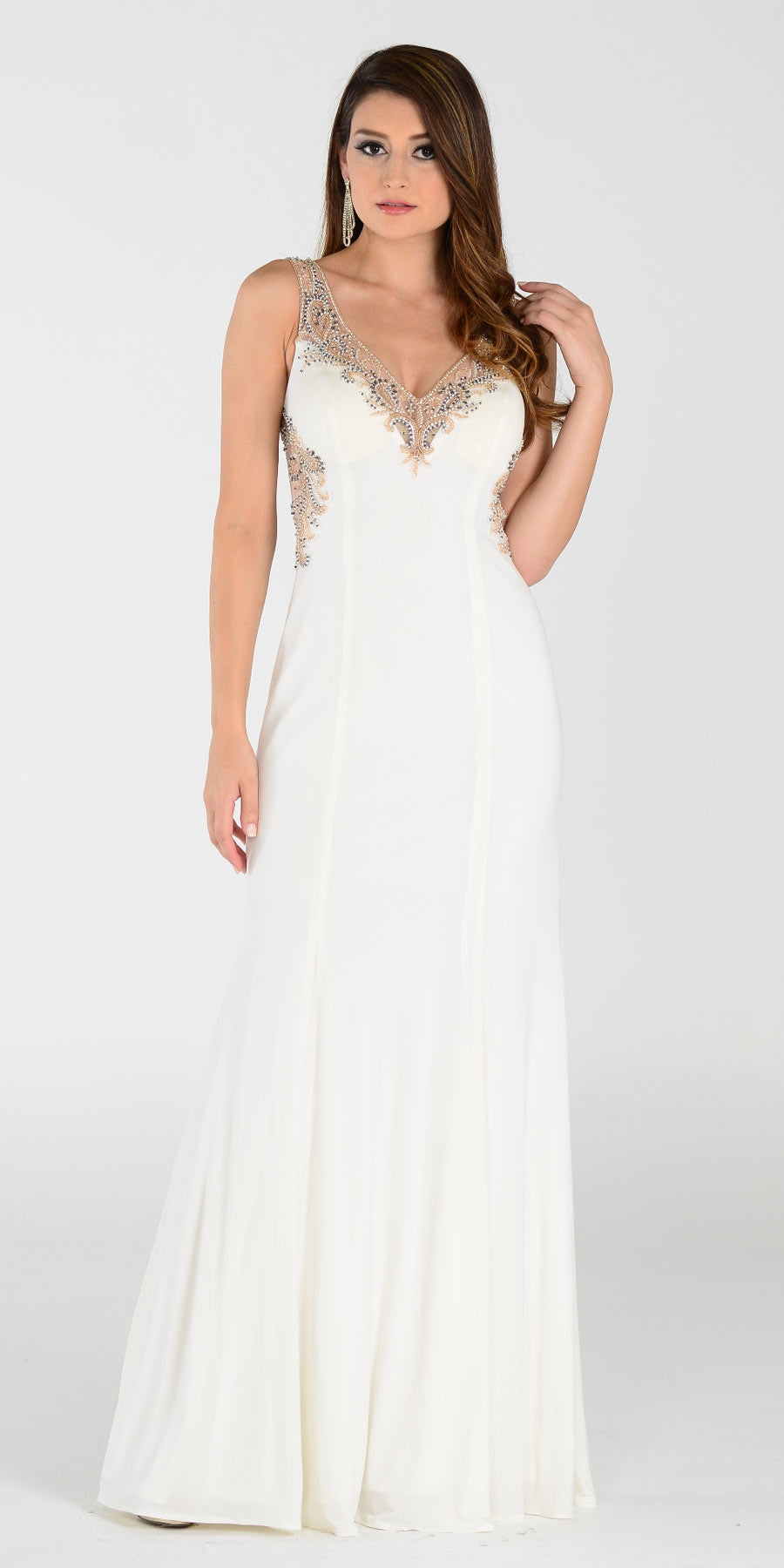 ON SPECIAL LIMITED STOCK - Poly USA 7356 Special Occasion Ivory Gown Sheath Floor Length