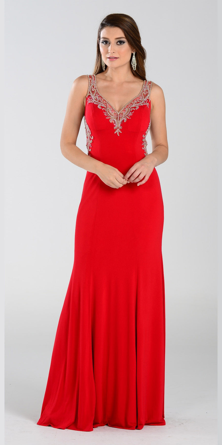 ON SPECIAL LIMITED STOCK - Poly USA 7356 Special Occasion Red Gown Sheath Floor Length