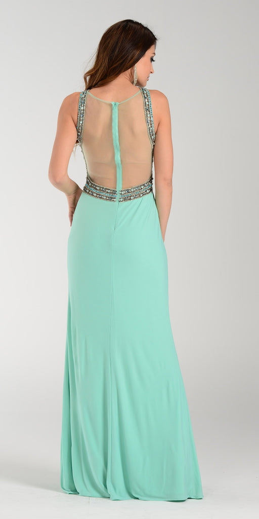 ON SPECIAL LIMITED STOCK - Poly USA 7360 Aqua Slit Prom Dress Sexy Long Sheer Back